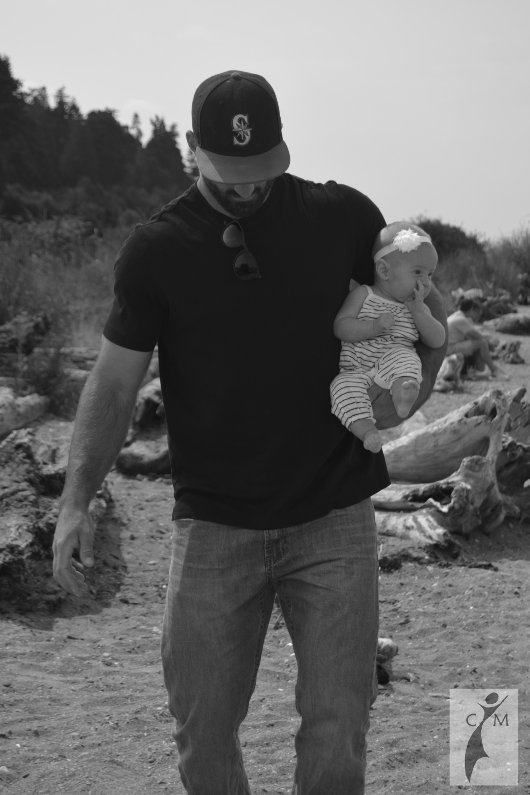 Dad with infant on the shore