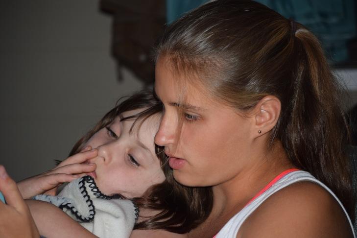 Girls cuddling