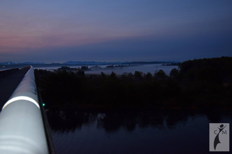Snohomish Valley at dawn in the fog