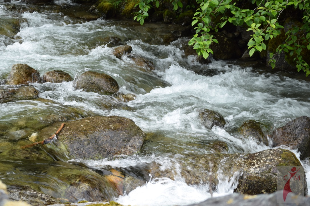 River flowing over rock on Skagit River