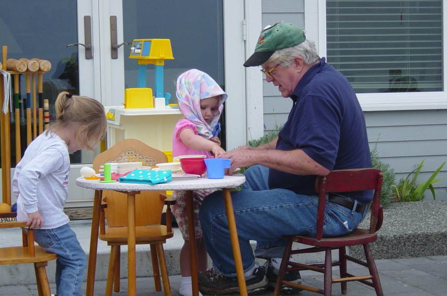 Grandpa having tea party