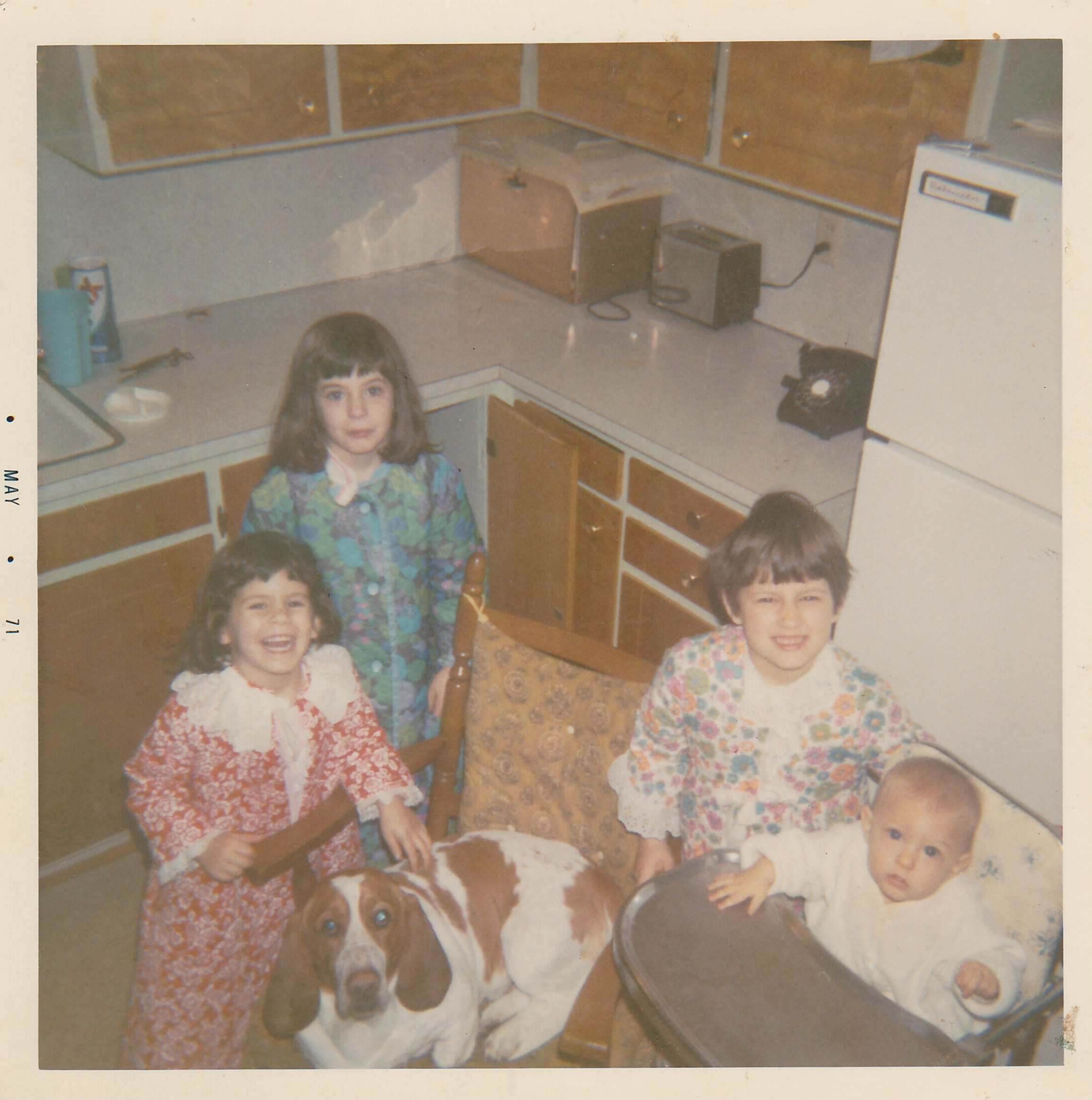 Shea girls and Charlie the Basset 1971