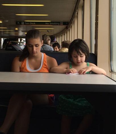 girls talking on a ferry