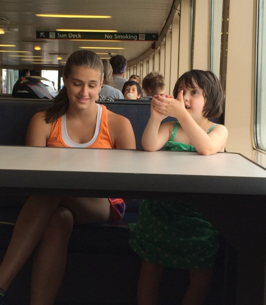 girls talking on a ferry