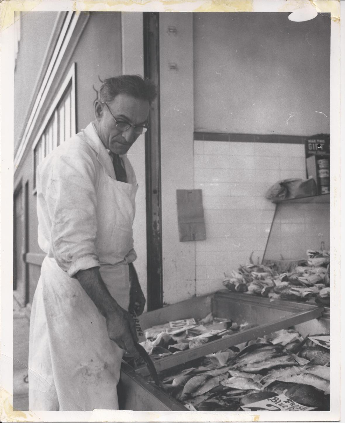Greek man working at fishmarket